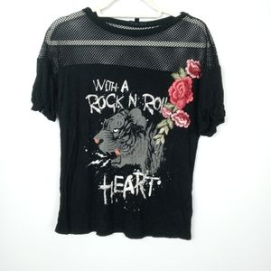 Love J black top with embroidery and mesh details